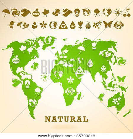 Green Earth illustration with ecology icons
