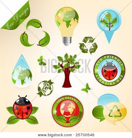 Los iconos de la ecología y elementos de diseño