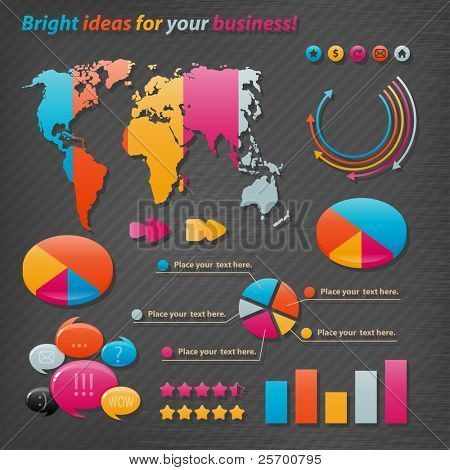 Iconos de vector para presentaciones de negocios e informes.