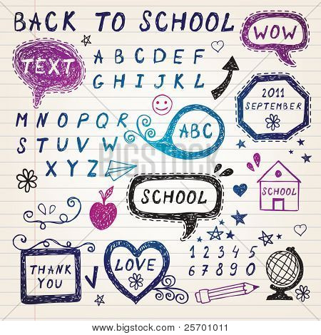 Hand-drawn speech bubbles,Back To School illustration