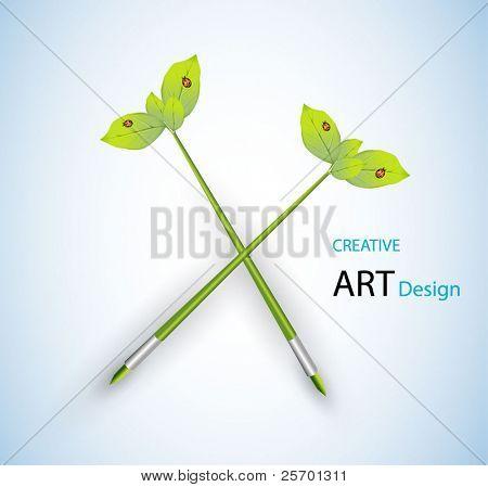 modelo criativo com lápis e folhas de arte conceito vector illustration