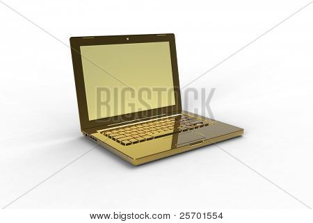 3d gold laptop on white background