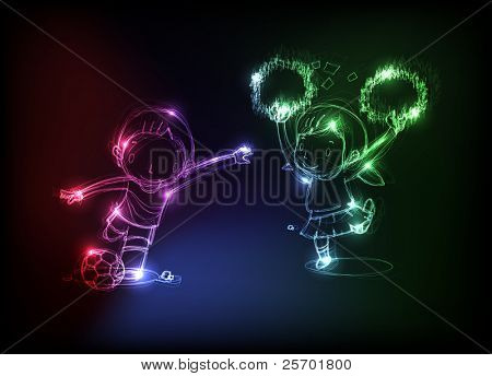 neon happy child background