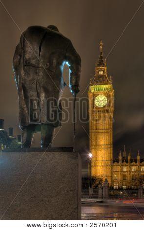 Churchill Statue Overlooking Westminster