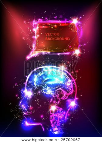 abstract human neon brain background for your text