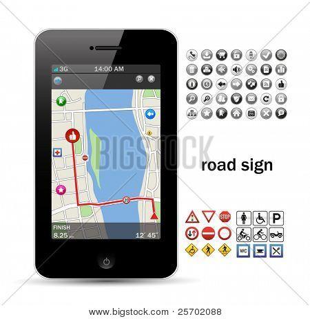 Handy-Navigation mit Straßenschild