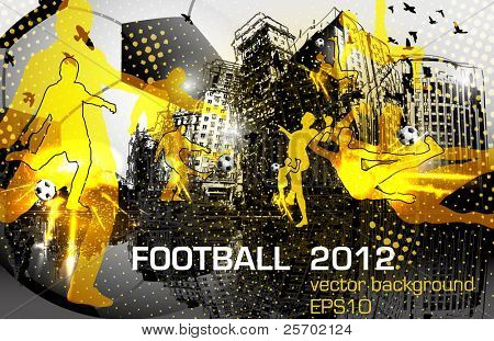 football poster design with player in city