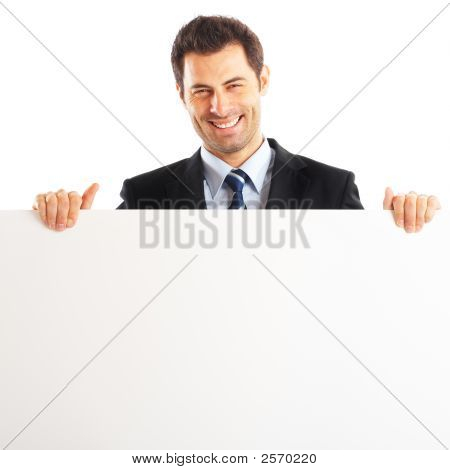 Handsome Businessman With Sign