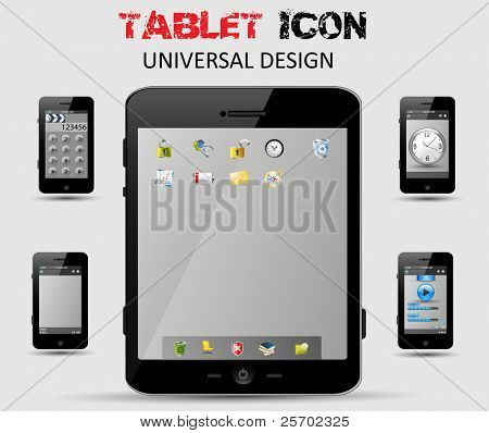 Universal design Tablet, computer and phone with icons, easy editable