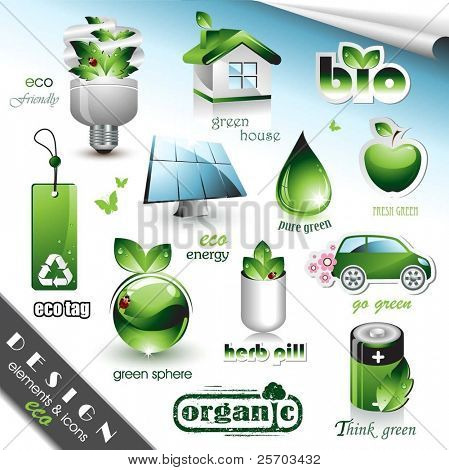 Eco-Design-Elemente und Symbole