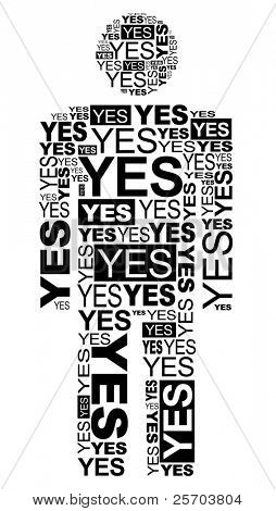 Man consisting of the words YES and made by typography.