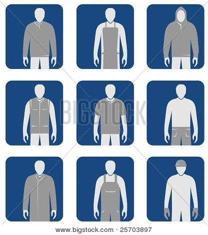 Workers' clothes and overalls icon set. Vector.