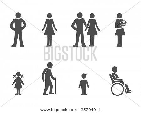 Set of family people silhouettes