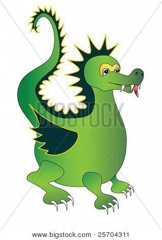 Green magic dragon. Vector illustration