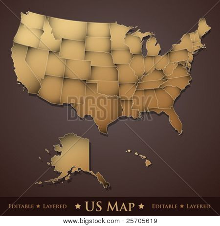 US Map - layered states - editable vector
