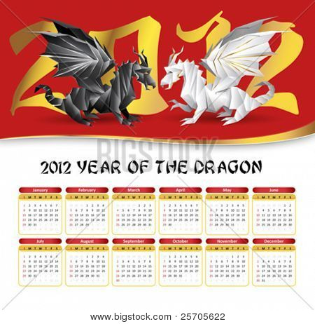 2012 calendar with origami dragons fight