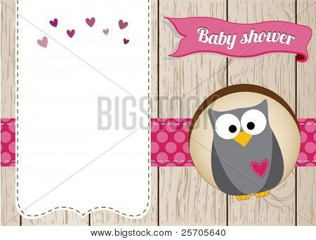 Cute owl baby girl shower