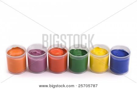 Gouache paint cans isolate on white background.