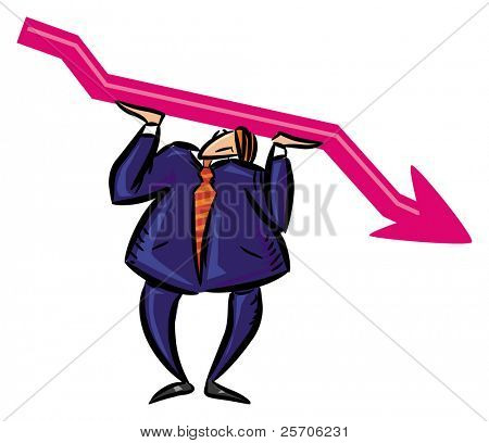businessman  keep up red arrow