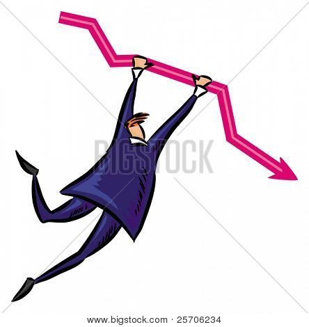 bbusinessman hang in red arrow