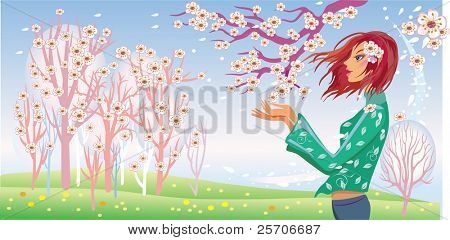 Spring girl and tree in bloom