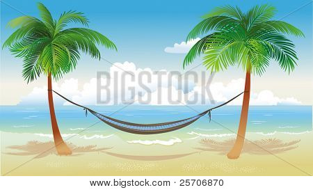 Hängematte und Palm Trees on beach