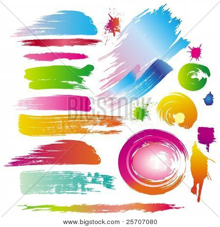 Color paint splashes and line brushes. Vector