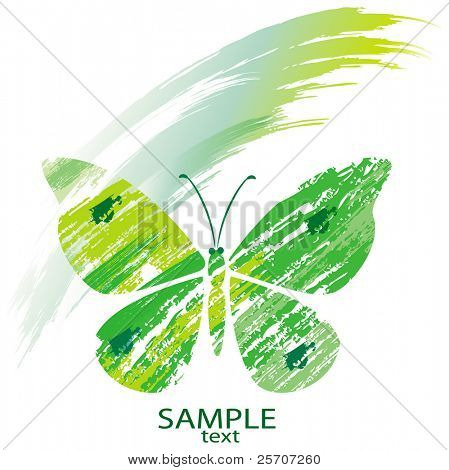 Green butterfly from line brushes