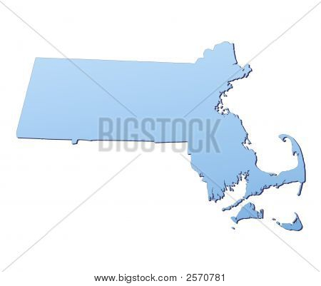 Massachusetts(Usa) Map Filled With Light Blue Gradient