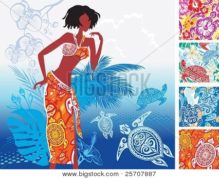 Prints with turtles on the beach women's clothing