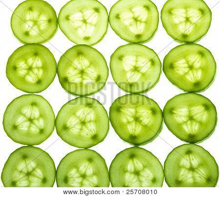 Many appetizing lobules ripe cucumber
