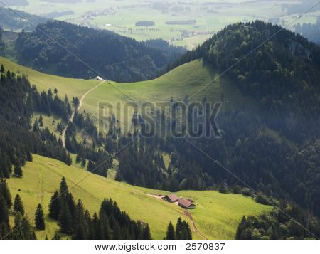 Mountain Meadows, Forests And Farm, Jura, Switzerland