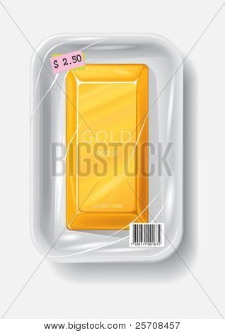 Gold bar in plastic container, vector illustration