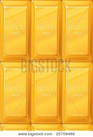 Gold bullions background, vector