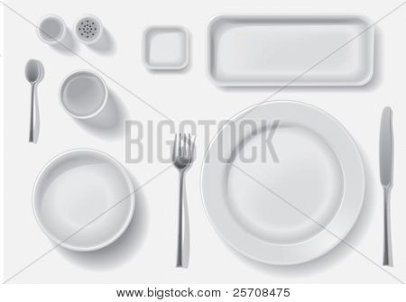 Clean white plates with drop shadow, vector