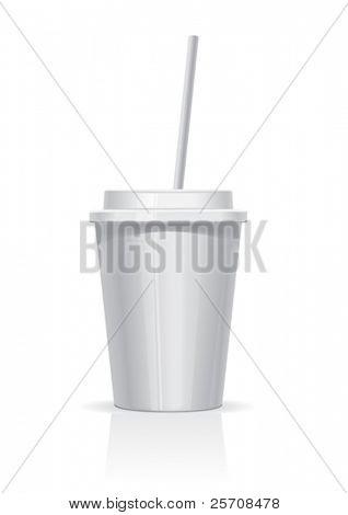 taza plástica blanca, vector