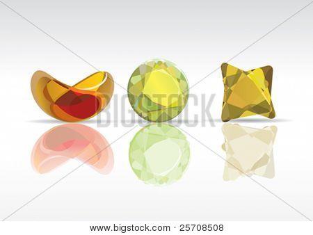 transparent colored gems, vector illustration