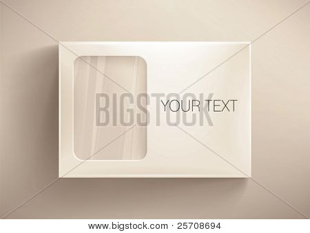 Front cardboard  box with a transparent  window. Eps10 vector