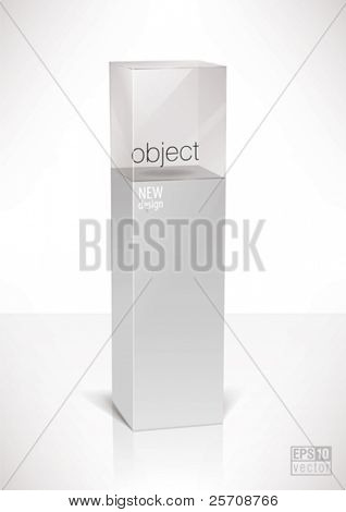 Pedestal top glass display cube case, eps10 vector