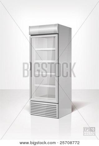 Bebida pantalla nevera con puerta de cristal. Eps10 vector