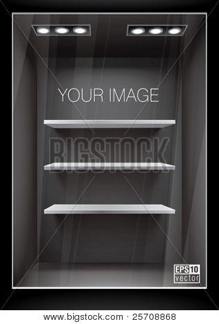 Vertical black storefront with shelves. Eps10 vector