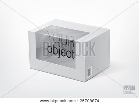 Cardboard package with transparent window for new design. Eps10 vector