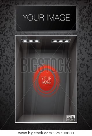 Vertical black storefront with signboard. Place for a product or image