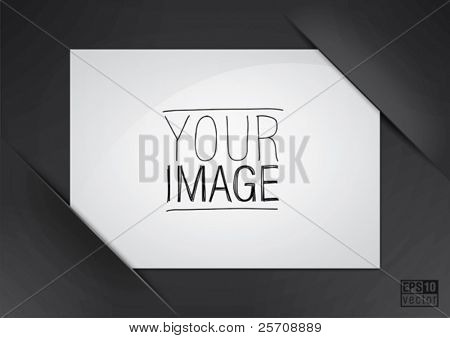 Black composite album page with place for photo, eps10 vector background