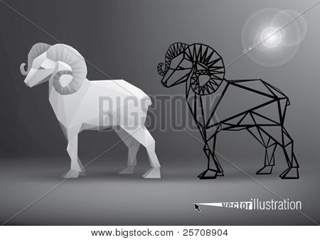 Vector ram stylized triangle polygonal model
