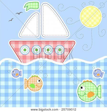 Bebê bonito cartão de saudação - costura série, todos os objetos na camada separada