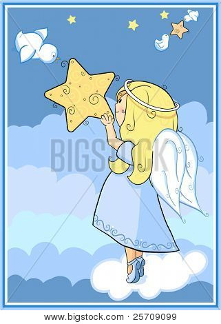 Angel with a star - every object on separate layer