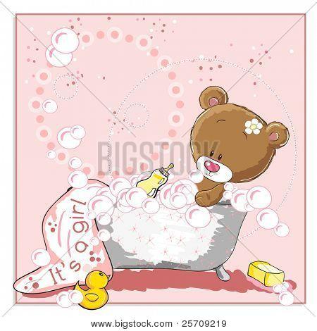 It's a girl - announcement card - Little bear bathing