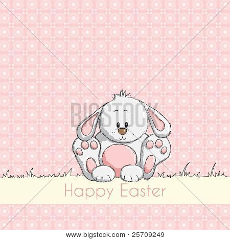 Easter greeting card - Pink cute bunny