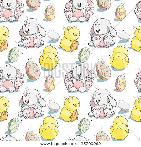 Seamless pattern - Easter eggs, chicks and bunnies